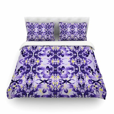 Tropical Orchid Dark Floral by Dawid Roc Featherweight Duvet Cover Color: Purple/Lavender, Size: King