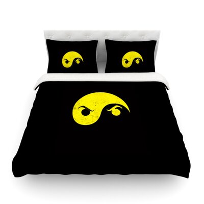 Yin Yang Ninja by Frederic Levy-Hadida Featherweight Duvet Cover Size: Full/Queen