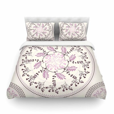 Pinkish Madellion Black Abstract by Famenxt Featherweight Duvet Cover Size: Twin