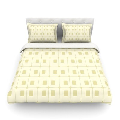 Squares in Square Tan Shapes by Fotios Pavlopoulos Featherweight Duvet Cover Size: Full/Queen