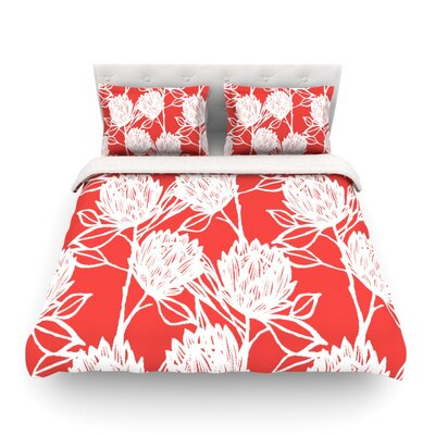 Protea Olive Flowers by Gill Eggleston Featherweight Duvet Cover Color: Strawberry/White/Red, Size: King