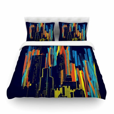 Strippy City by Frederic Levy-Hadida Featherweight Duvet Cover Size: Twin