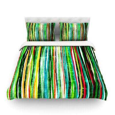 Fancy Stripes Dark by Frederic Levy-Hadida Featherweight Duvet Cover Color: Green, Size: King