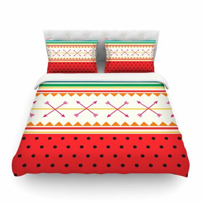 Watermelon Arrows and Colors Tags by Famenxt Featherweight Duvet Cover Size: Full/Queen
