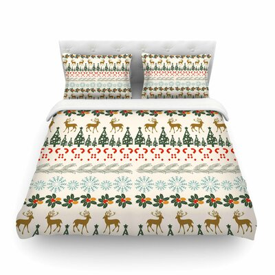 Christmas Vibes Holiday Pattern by Famenxt  Featherweight Duvet Cover Size: Twin