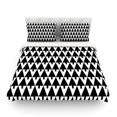Happy X-Mas Illustration Geometric by Gabriela Fuente Featherweight Duvet Cover Size: Full/Queen, Color: Black/White