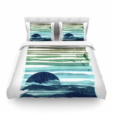 Sea Scape Blue Stripes by Frederic Levy-Hadida Featherweight Duvet Cover Size: Full/Queen
