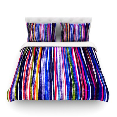 Fancy Stripes Dark by Frederic Levy-Hadida Featherweight Duvet Cover Size: Full/Queen, Color: Purple