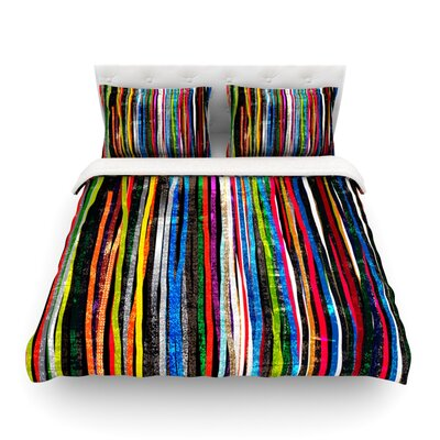 Fancy Stripes Dark by Frederic Levy-Hadida Featherweight Duvet Cover Color: Dark, Size: King