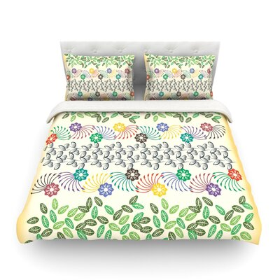 Flowers and Leaves Pattern Abstract Geometric byFamenxt Featherweight Duvet Cover Size: King