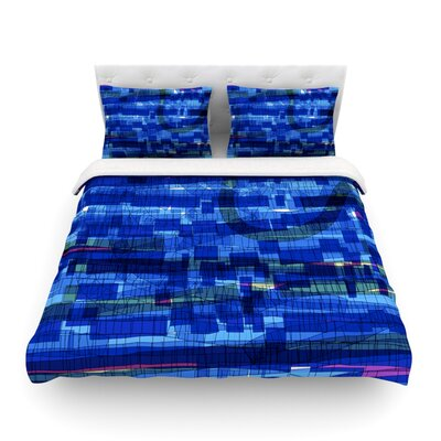 Squares Traffic by Frederic Levy-Hadida Featherweight Duvet Cover Color: Blue, Size: King