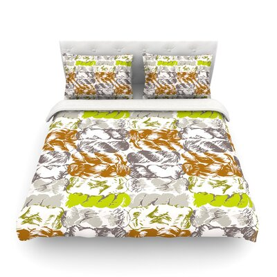 Nice Knot by Fernanda Sternier Featherweight Duvet Cover Color: Orange, Size: Full/Queen