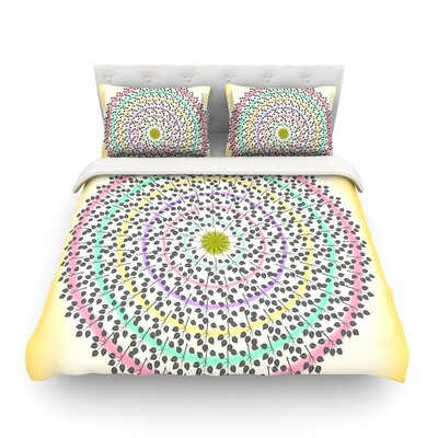 Leafy Watercolor Mandala Pastels Abstract by Famenxt Featherweight Duvet Cover Size: Twin