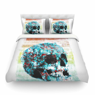 Floral Skully by Frederic Levy-Hadida Featherweight Duvet Cover Size: Full/Queen