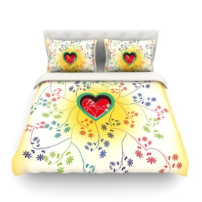Romantic Heart by Famenxt Featherweight Duvet Cover Size: Full/Queen