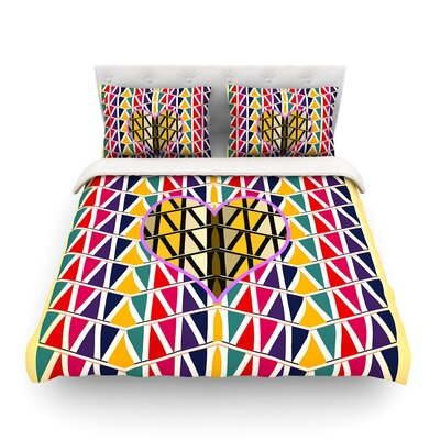 Heart in Abstract Pattern Geometric Abstract by Famenxt Featherweight Duvet Cover Size: Full/Queen
