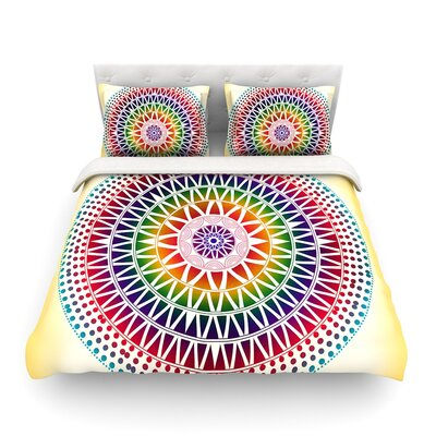 Colorful Vibrant Mandala Rainbow Geometric by Famenxt Featherweight Duvet Cover Size: Full/Queen