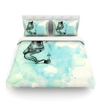 Hot Tub Hunter by Graham Curran Featherweight Duvet Cover Size: Twin
