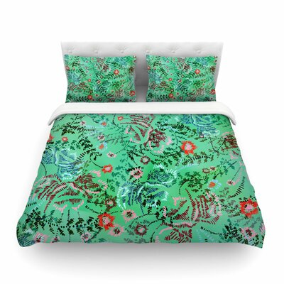 African Romance Floral by Fernanda Sternier Featherweight Duvet Cover Color: Green, Size: King