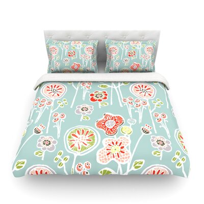 Folky Floral by Gill Eggleston Featherweight Duvet Cover Color: Blue/Teal, Size: Full/Queen
