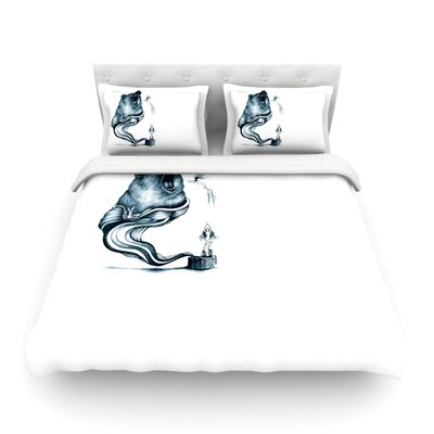 Hot Tub Hunter by Graham Curran Featherweight Duvet Cover Color: White, Size: King