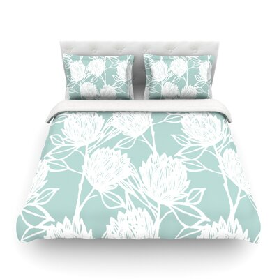 Protea Jade Blue Flowers by Gill Eggleston Featherweight Duvet Cover Size: King