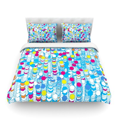 Color Hiving Blue Abstract by Frederic Levy-Hadida Featherweight Duvet Cover Size: King, Color: Blue/Abstract