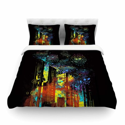 Starry City Lights Black Rainbow by Frederic Levy-Hadida Featherweight Duvet Cover Size: Full/Queen