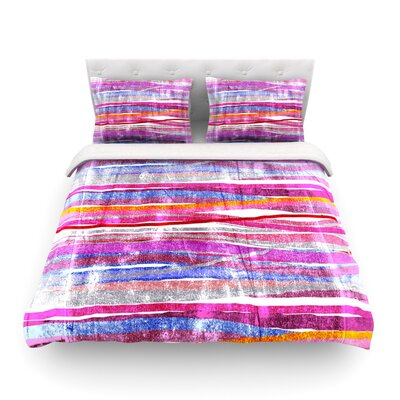 Fancy Stripes Light by Frederic Levy-Hadida Featherweight Duvet Cover Size: King, Color: Pink