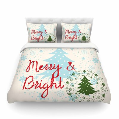 Merry and Bright Holiday Typographyby Famenxt  Featherweight Duvet Cover Size: Twin