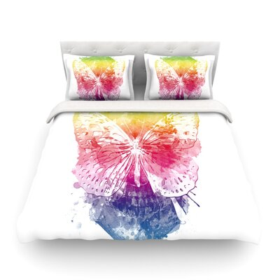 Butterfly Skull Rainbow by Frederic Levy-Hadida Featherweight Duvet Cover Size: Twin