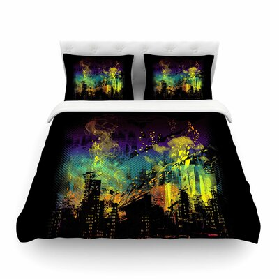 City Grid Black Rainbow by Frederic Levy-Hadida Featherweight Duvet Cover Size: King