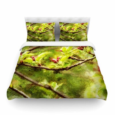 Painted Apple Blossom Branch Photography by Ginkelmier Featherweight Duvet Cover Size: Full/Queen