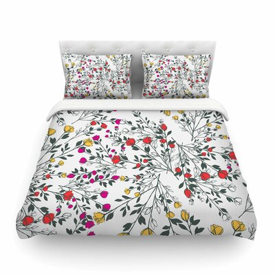 Rose Blossom Garden Red Floral by Famenxt Featherweight Duvet Cover Size: Twin