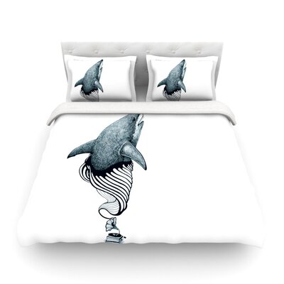 Shark Record by Graham Curran Featherweight Duvet Cover Color: White, Size: King