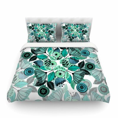 Sognare Green Abstract by Famenxt Featherweight Duvet Cover Size: Twin