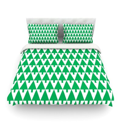 Happy X-Mas Illustration Geometric by Gabriela Fuente Featherweight Duvet Cover Size: Twin, Color: Green