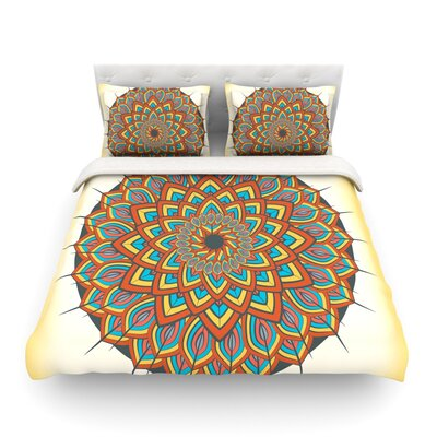 Floral Mandala Geometric by Famenxt Featherweight Duvet Cover Size: Full/Queen