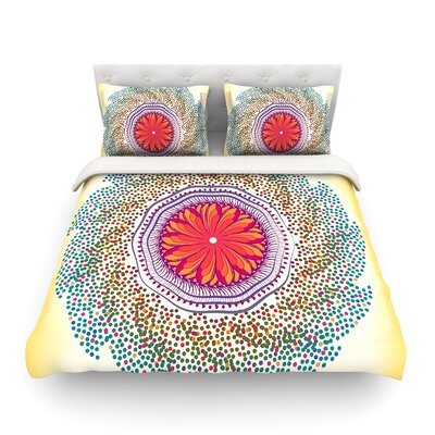 Confetti Dots Mandala Abstract by Famenxt Featherweight Duvet Cover Size: Full/Queen