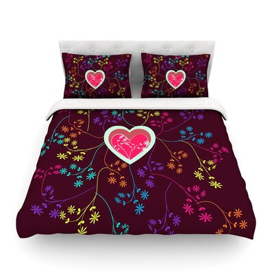 Love Heart by Famenxt Featherweight Duvet Cover Size: Full/Queen