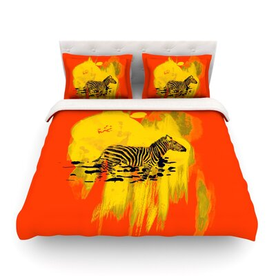 Watercolored Zebra by Frederic Levy-Hadida Featherweight Duvet Cover Color: Red, Size: King