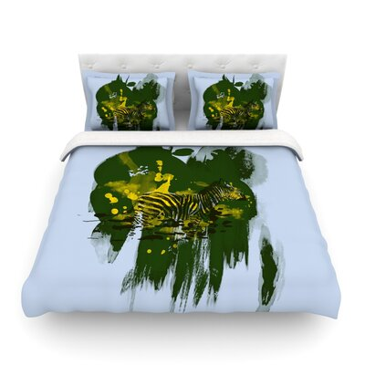 Watercolored Zebra by Frederic Levy-Hadida Featherweight Duvet Cover Color: Green, Size: Twin