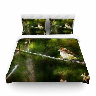 Painted Songbird Green Nature by Ginkelmier Featherweight Duvet Cover Size: Full/Queen