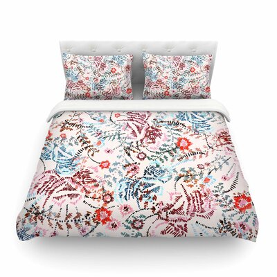 African Romance Floral by Fernanda Sternier Featherweight Duvet Cover Color: Red/Beige, Size: Full/Queen