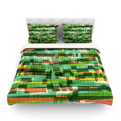 Squares Traffic by Frederic Levy-Hadida Featherweight Duvet Cover Color: Green, Size: Twin