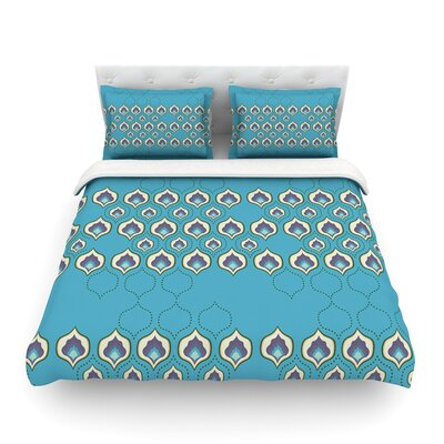 Happy Path Pattern by Fernanda Sternier Featherweight Duvet Cover Size: Full/Queen, Color: Blue