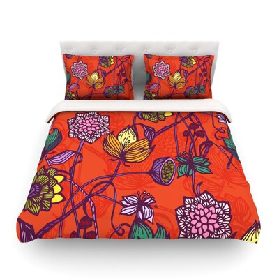 Garden Blooms Hot Floral by Gill Eggleston Featherweight Duvet Cover Size: Full/Queen