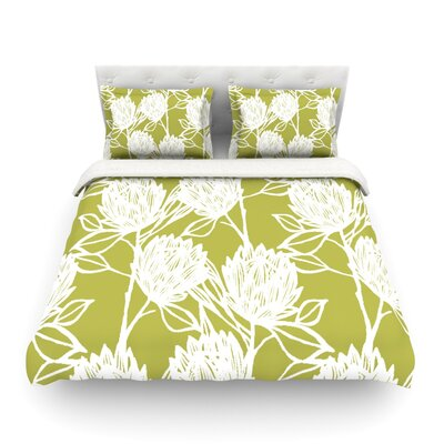 Protea Olive Flowers by Gill Eggleston Featherweight Duvet Cover Color: White/Green, Size: Full/Queen