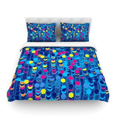 Color Hiving Blue Abstract by Frederic Levy-Hadida Featherweight Duvet Cover Color: Blue/Navy, Size: Full/Queen