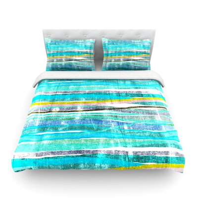 Fancy Stripes Light by Frederic Levy-Hadida Featherweight Duvet Cover Color: Acqua, Size: Full/Queen